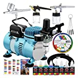 Master Airbrush Professional Cool Runner II Dual Fan Air Compressor Airbrushing System Kit with 6...