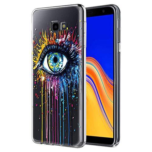 ZhuoFan Samsung Galaxy J4 Plus Hülle, Schutzhülle Silikon Transparent mit Muster Motiv Handyhülle Ultra Dünn Weich TPU Bumper Case Backcover für Samsung Galaxy J4 Plus, Auge