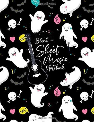 Blank Sheet Music Notebook: Blank Sheet Music Notebook, cute halloween ghost, boo, hey design style, Funny cute halloween ghost Sheet Music Notebook, ... Music Notebook , cute halloween ghost gifts