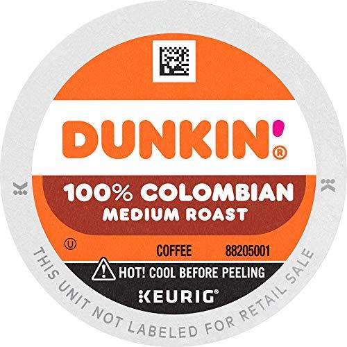 Dunkin' 100% Colombian Medium Roast Coffee, 60 Keurig K-Cup Pods