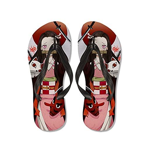 WWZY Hombre Flip-Flops Zapatos De Playa Y Piscina Chanclas Anime Kimetsu No Yaiba 3D Impresión Kamado Nezuko Verano Ducha Interiores Zapatillas,Negro,EU 41~42(270)