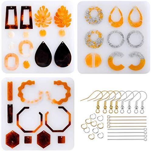 Libershine Moules à Bijoux Kits de Silicone, Moules en Silicone Époxy Résine avec Crochet Boucle Doreille Anneau Saut Accessoires Fabrication Bijoux Bricolage