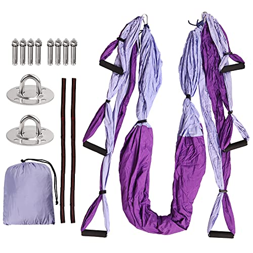 COLFULINE Columpio de Yoga Aéreo Hamaca Aeroyoga Yoga Trapecio de Nylon con Anclajes de Techo Carga de 272kg Banda Plástica de Extensión