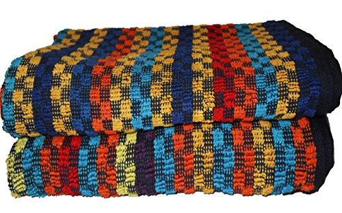 KH-Haushaltshandel 2er Pg. Frottier Grubentuch, 50 x 90 cm, Multicolor dunkel kariert, Handtuch, Mehrzwecktuch