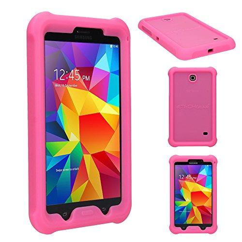 TECHGEAR Schutzhülle für Samsung Galaxy Tab 4 7,0 (SM-T230 SM-T231 SM-T235), [Kinderfreundlich] Leichtes Koffer Silikon Soft Shell Anti-Rutsch-Shockproof verstärkte Ecken + Displayschutzfolie. Rosa