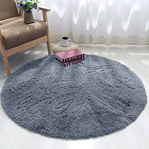 GE CHENG, alfombras mullidas de Interior súper Suaves y mullidas de Terciopelo Linda Alfombra de Dormitorio mullidaAdecuado para salón Dormitorio baño sofá, (Gris, 100 x 100 cm)