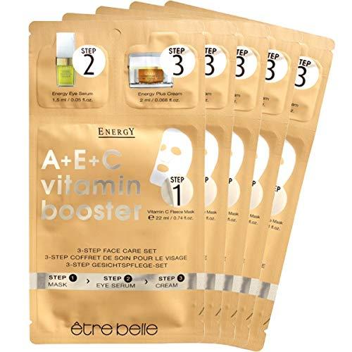 etre belle Mascarilla Energy A+E+C de 3 pasos: el potenciador de vitamina A+E+C en tres sencillos pasos de aplicación.