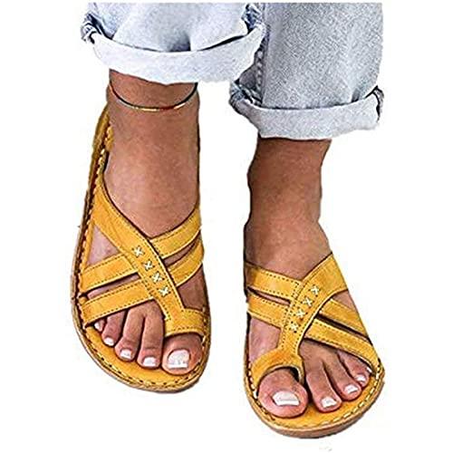 CHLDDHC Verano Mujer Casual Talón Pendiente Todo Sandalias Color Sólido