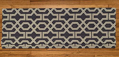 Faux Roman Shade Valance Custom Made in Scott Living Nasco Blue & White Geometric Print on Premium Cotton Linen Fabric, Fully Lined