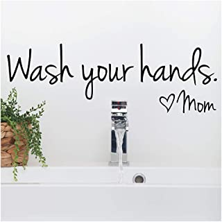 Bestjybt Wash Your Hands Love Mom Quote Bathroom Wall Stickers Waterproof Art Vinyl Decal Bathroom Wall Decor