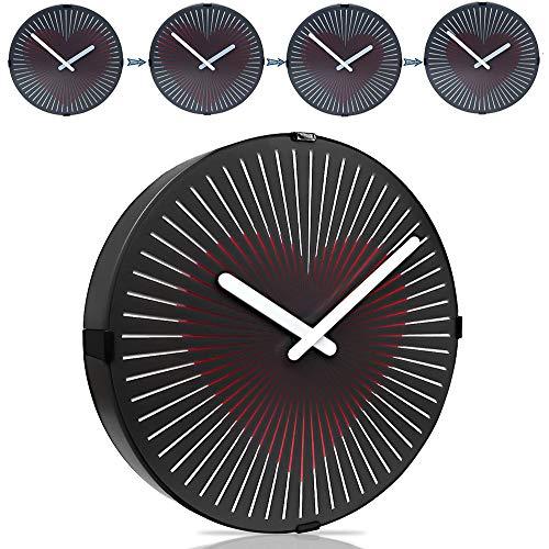 SHENGY 12 Pulgadas no-Tic-TAC Reloj de Pared de la ilusión óptica, Reloj de Pared Animado de Zoetrope, para la Oficina, Dormitorio y Sala de Estar, operado por batería,Flashingheart