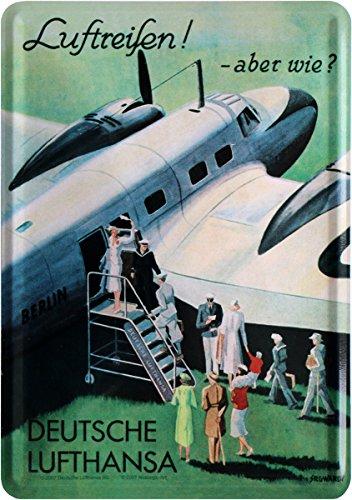 Luftreisen mit Lufthansa Nostalgie Blechschild Postkarte Blechkarte PKM 215