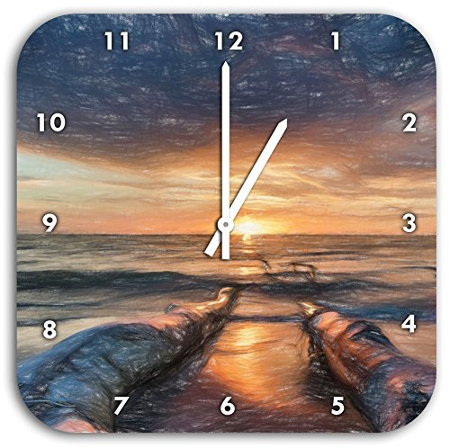 Strand Öl Effekt Kunst Buntstift Effekt, Wanduhr Durchmesser 28cm mit schwarzen Spitzen Zeigern und Ziffernblatt