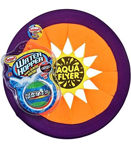 JA-RU Water Hop Skip Ball & Flyer Foam Frisbee Beach Pool Toy Bundle | Water Hopper Bouncing Ball and Flying Disc | D3