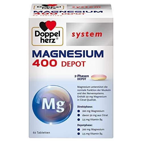 Doppelherz system MAGNESIUM 400 DEPOT – Magnesium als Beitrag für die normale Funktion der Muskeln und des Nervensystems – 60 Tabletten