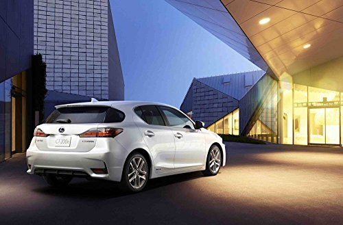"Lexus CT 200h (2014) Car Art Poster Print on 10 mil Archival Satin Paper White Rear Side Static View 36""x24"""