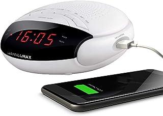 "HANNLOMAX HX-200 Alarm Clock Radio, PLL FM Radio, with Preset Stations, Dual Alarm, 0.6"" Red LED Display, USB Port for 1A ..."