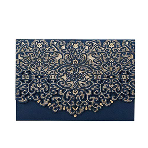 PONATIA 25pcs/Lot Luxury Laser Cut Invitations Cards Kits Flora Invitation Cardstock Packs with Envelope and Adhesive Seals for Engagement Wedding Party (Blue-1)