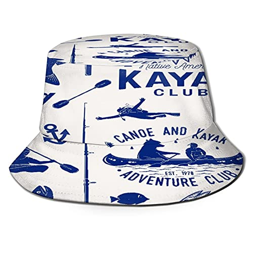 Sombreros de Cubo Plegables,Canoa Kayak y Club de Pesca de Patrones sin f,Sombrero de Pescador Unisex con protección UV,Gorra de Playa para el Sol,Sombreros de Viaje de Verano para Hombres y Mujeres