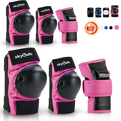 Kids Knee Pads Elbow Pads Wrist Guards, Child Toddler adjustable Protective Gear 6 in 1 Set for Skateboard Bike Cycling Skating Electric-Scooter Roller Inline Skating BMX Bicycle Rollerblading Sports…