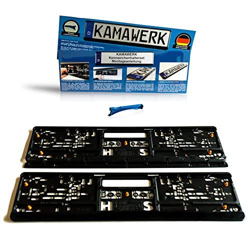 KAMAWERK Kfz Kennzeichenhalter (2er Set) Schwarz - Nummernschildhalterung Auto 52cm EU Kennzeichen - Nummernschildhalter Lackschutz - Made in Germany