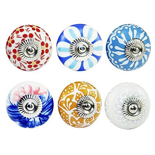 Gobesty Pomello per porta in ceramica, 6 colori assortiti Manopole per armadietti vintage Manopole in ceramica fiore Maniglie per cassetti per armadietti Maniglie per cassetti per armadietti