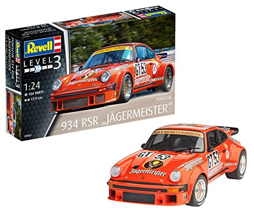 Revell Maqueta Porsche 934 RSR Jägermeister, Kit Modelo, Escala 1:24 (07031), Color Orange, 17,9 cm de Largo