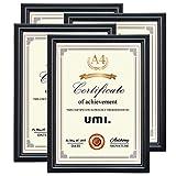 UMI. Essentials Marco para Fotos y Diplomas De pie o para Colgar en la Pared, Tamaño A4 Negro, Juego de 4