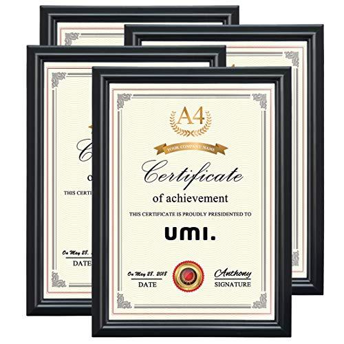 UMI. Essentials Bilderrahmen A4 Foto Rahmen für Urkunden wandhängend oder freistehend, Schwarz, 4er-Pack