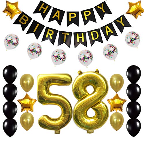 58th Birthday Decorations Party Supplies Happy 58th Birthday Confetti Balloons Banner and 58 Number Sets for 58 Years Old Party(Gold)