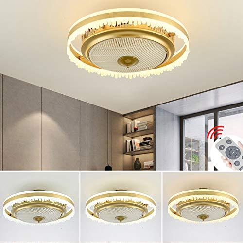 YAOXI Fan Deckenventilator Mit Beleuchtung Leise Dimmbar LED Fan Deckenleuchte Einstellbare Windgeschwindigkeit Deckenlampe Für Schlafzimmer Wohnzimmer Esszimmer,Gold,D50×25cm/58W