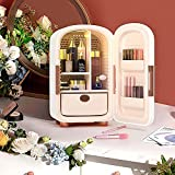 H HUKOER 12-liter Mini Skincare Fridge for Makeup Storage,Skin care Tools 12-liter Esthetician Supplies,for Bedroom to Cool Down Skincare Products (White)