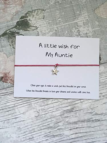 Auntie Wish Bracelet, Pink Cord