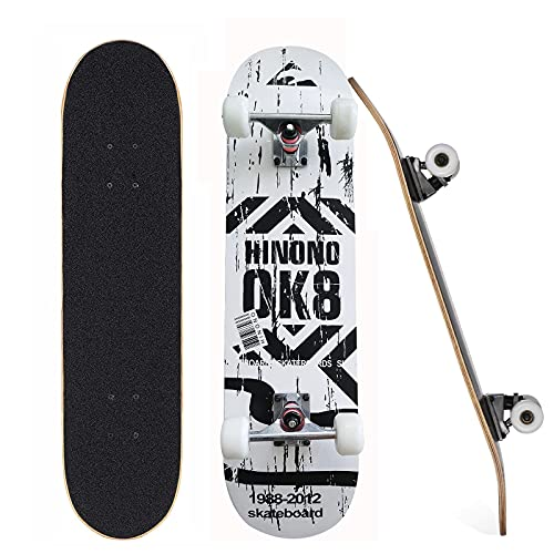 """Standard Skateboards, Beginner Skateboards, 31"""" x 8"""" Complete Pro Skateboard with Repair Kit for Kids/Boys/Girls/Youth/Adults, 7 Layer Canadian Maple Double Kick Skateboard for Outdoors (White)"""