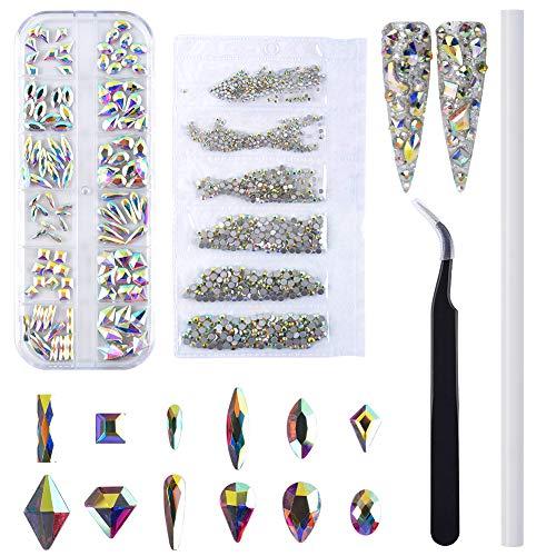 QIMEIYA 3D Pedrería para Uñas, 1440 piezas Uña Piedras de Strass Cristales AB decoración uñas diamantes con pinzas y pluma punteadora