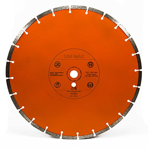 Diamanttrennscheibe 350/25,4 mm Universal | BETON ZIEGEL PFLASTER | für Steinsäge, Steintrenntisch | Unimax-350-25