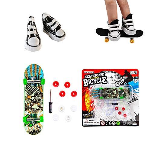 Kungfu Mall 1pc Finger Skateboard und 2pcs Canvas Mini Sneaker Schuh für Kindergeburtstage, Partygeschenk