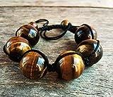 LOVEKUSH - Braccialetto con occhio di tigre, 18 mm, con pietre preziose per uomo, donna, yoga, braccialetto etnico, regalo B11