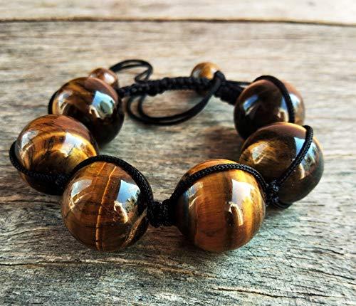 LOVEKUSH - Pulsera de ojo de tigre, 18 mm, cuentas de piedras preciosas de ojo de tigre, hombre, mujer, yoga, pulsera ajustable, pulsera étnica, regalo B11