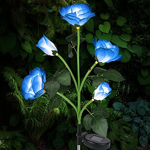 Luces Solares Exterior Jardín, Luces LED Decorativas Rosas Solares, IP65 Luz Solar Al Aire Libre Del Jardín para Exterior Solares, Jardín, Patio, Caminos [Clase de eficiencia energética A]