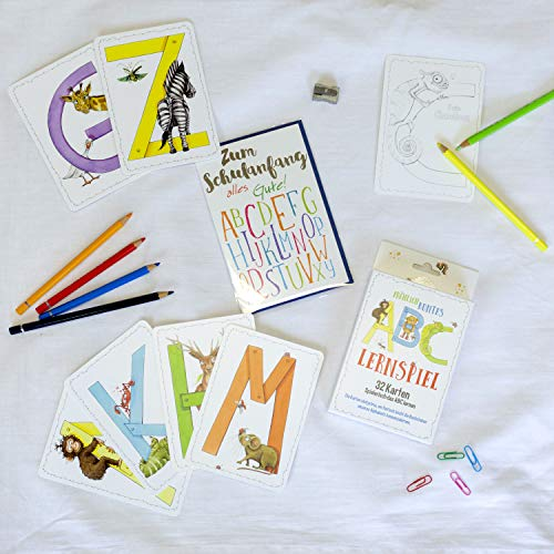 Einschulungsgeschenk ABC Lernspiel Karten und Grußkarte zum Schulanfang Kartenspiel mit Tieren 32 Karten Set um spielerisch das Alphabet zu lernen Kinder Buchstaben Skorpion Papeterie