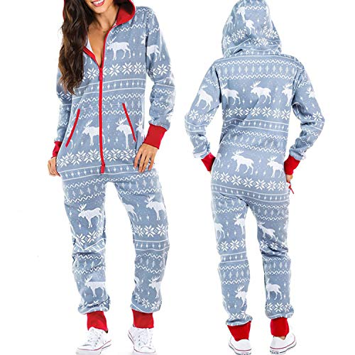Women's One Piece Onsies Sleepwear Ugly Christmas Pajamas Hooded Jumpsuit Rompers Clubwear Nightwear (white, S)
