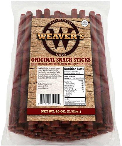 Weaver's Original Snack Sticks (80 mild flavored 6.5' beef and chicken snack sticks per 40oz bag)