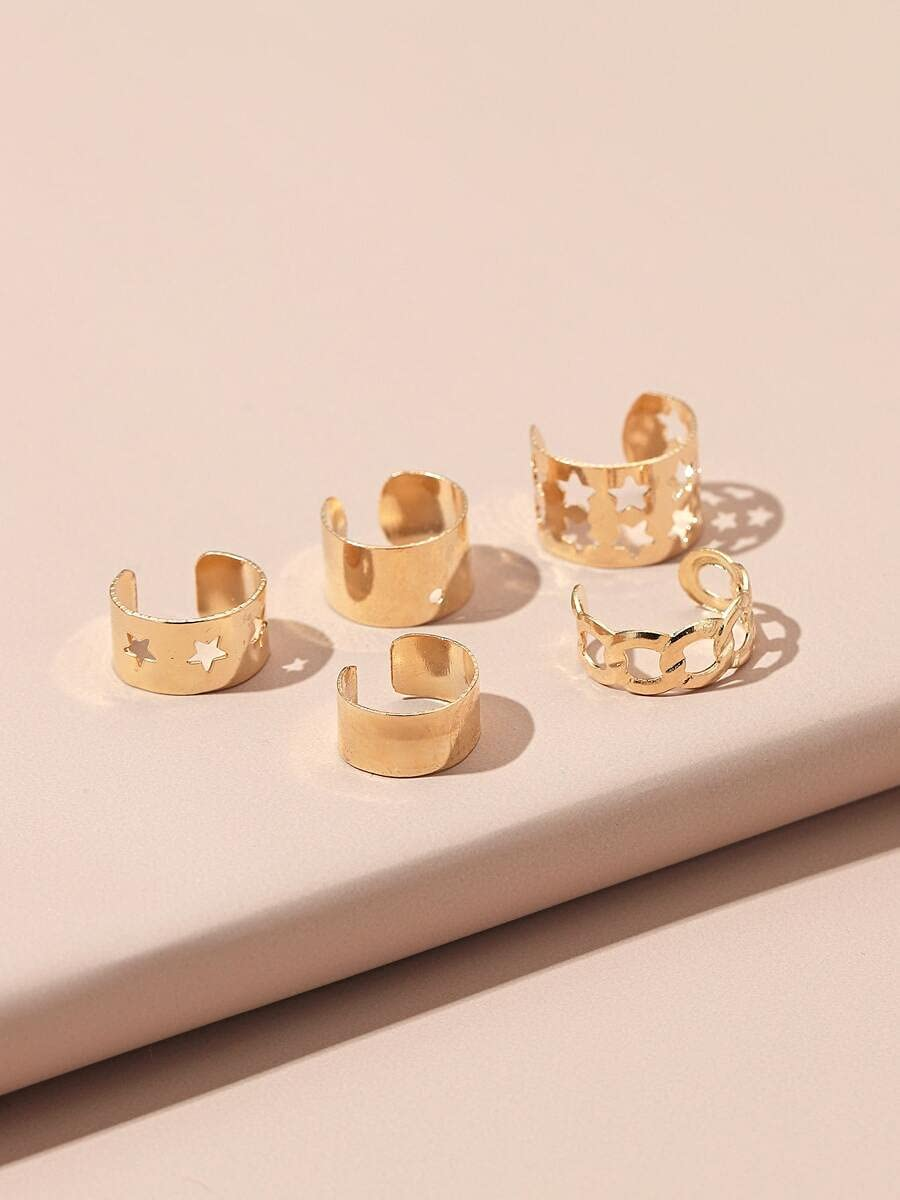 AXJTNL Hoop Earrings 5pcs Hollow Out Star Decor Ear Cuff (Color : Gold, Size : OneSize)