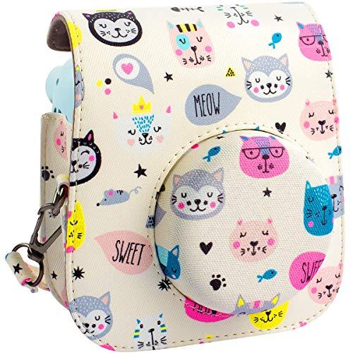 Schutzhülle und tragbare Tasche Kompatibel mit Fujifilm Instax Mini 11 Sofortbildkamera mit Zubehörtasche und verstellbarem Gurt. (Kitty)