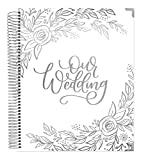 bloom daily planners Wedding Planner & Organizer/Hardcover Keepsake Journal with Essential Planning Tools - Checklists, Vision Boards, Tips & More - 9'x11' - Silver Floral (Undated)