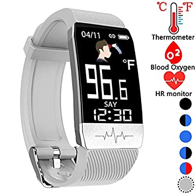 Fitness Tracker,Smart Watch with Body Thermometer Heart Rate Blood Oxygen Blood Pressure Monitor,Pedometer Sleep Monitor, Step Counter for Kids Women Men (z-Gray)