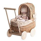 Landau-poussette pour poupée en osier ,poignée et roues en bois avec tissu beige et blanc