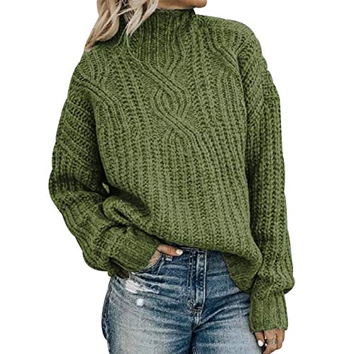 Jersey Punto Cuello Alto Mujer Sueter Tejido Cuello Vuelto Mujer Jerséis Mujeres Pullover Sweater Jerseys Largos Jumper Para Damas Suéter Señora Sueteres Tejidos Para Mujer Sueters Sweaters Verde XL