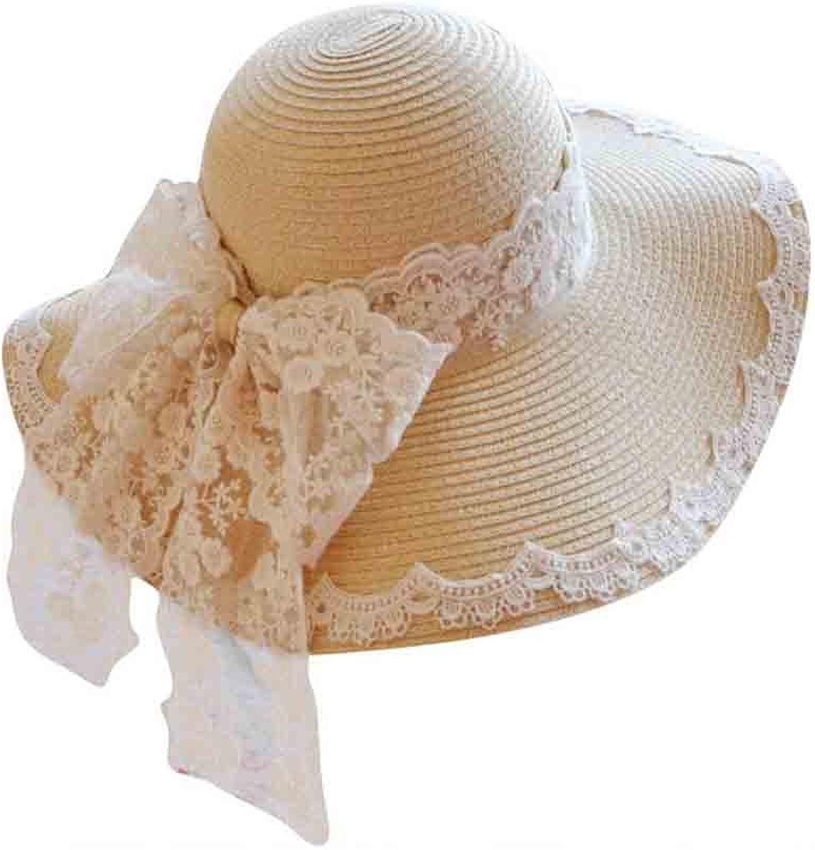 Sunny Small Fresh Big Brim Women's Straw Hat Lace BowKnot Visor Hat Beach Hat Sun Hat